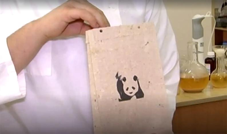 В руках у Валентина эко-пакет из изобретенной бумаги